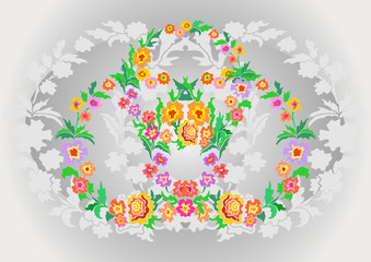 Wreaths from abstract flowers on floral background