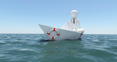 The white man is swimming in the sea on a white paper boat
