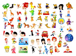 Big set of different cartoon characters and scenes