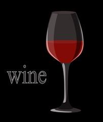 Red wine in elegant glass on black background. Vector illustrati
