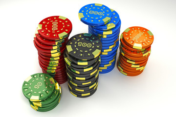 illustration of colorful casino token of different value