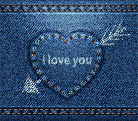 Jeans heart blue denim texture