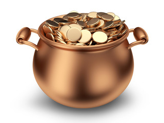 Pot of golden coins. Traditional holiday. 3D Icon isolated