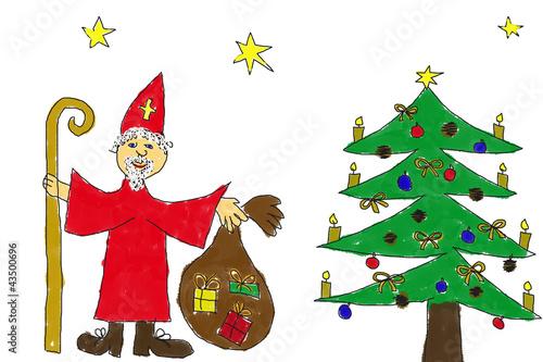 Weihnachtsbilder Gemalt.Weihnachtsbild Von Kinderhand Stock Photo And Royalty Free Images
