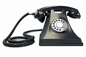 illustration of antique phone against white background
