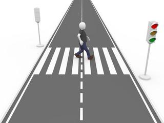 Walking on a pedestrian pass