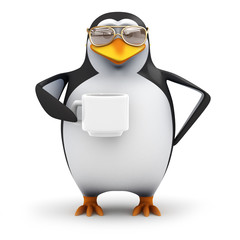 3d Penguin in aviators drinks a cup of coffee