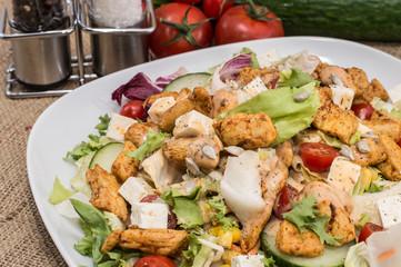 Chicken Salad on rustic background