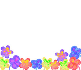 Color flowers in watercolor hand painted, isolated