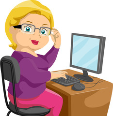 Senior Using a Computer