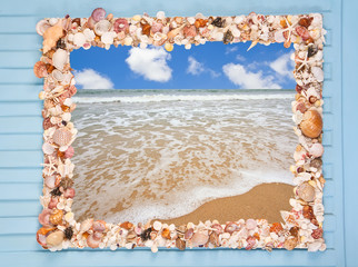 Decorative frame made from different shells and mussels and sea