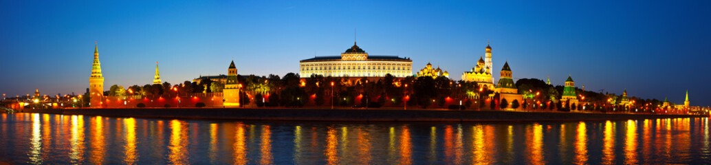 Poster Moscow Panorama of Moscow Kremlin in night. Russia