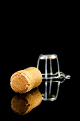 Champagne cork on black