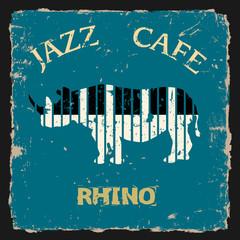 Musical Rhino. Conceptual vector