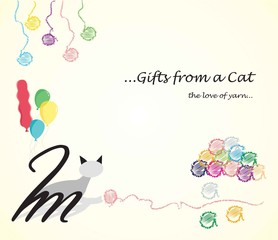Colorful Cat and Yarn Gift / Birthday Card