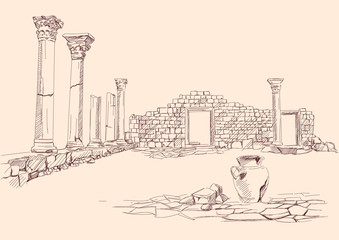 Ruins of temple , archaeology hand drawn