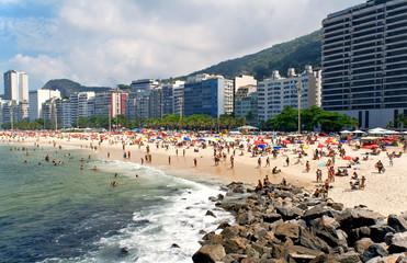 Leme and Copacabana beache in Rio de Janeiro. Brazil