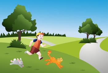 Keuken foto achterwand Katten Bambino che corre con animali