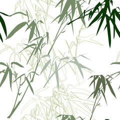 Bamboo. Floral seamless pattern background, vector illustration