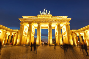 Aluminium Prints Berlin Brandenburg gate at night