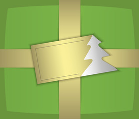 christmas gift green gold label tree