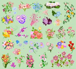 set a festive floral bouquet