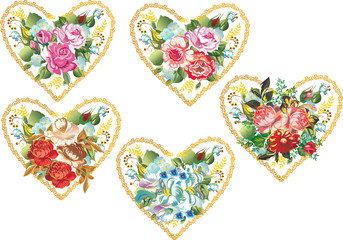 five flower hearts on white