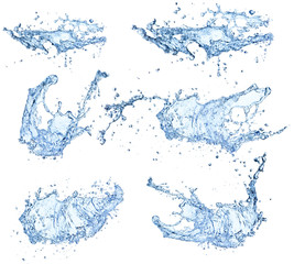 Wall Mural - Water splashes collection isolated on white background
