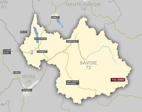 Carte et situation de Val Cenis