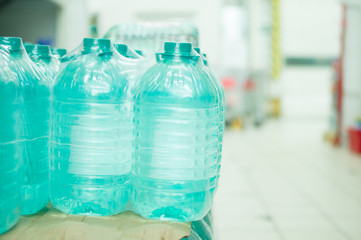 Bottles with fresh water in supermarket