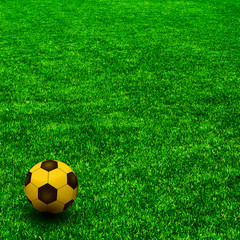 TheGOLD soccer ball on the green grass. Texture of green grass