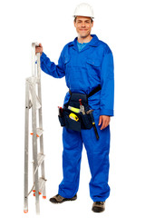 Repairman with a stepladder and tools bag