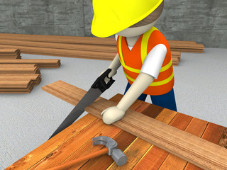 3d Worker sawing wood