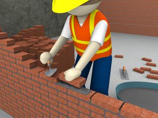 Bricklayer setting bricks