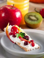 Healthy breakfast, crispbread with fruits
