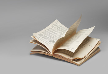 Book open pages riffling