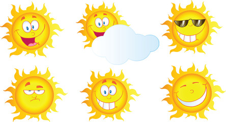 Different Sun Cartoon Mascot Characters