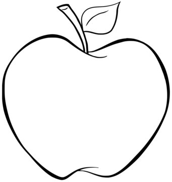 Outlined Cartoon Apple. Raster Illustration