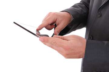 businessman hands with touch pad