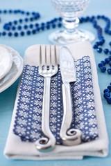 Fork and knife on christmas table