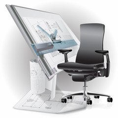 Part of office interior with a chair and architectural drawings