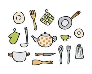 Doodle kitchen elements. Vector