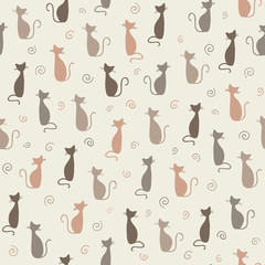 Stylish cats pattern. Vector illustration