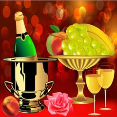 bottle champagne fruit  rose and goblets