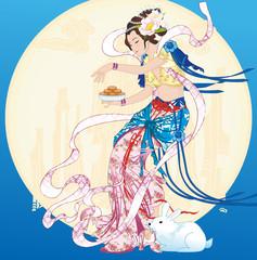 Vector of Asian Artistic Fairy Lady in Mid Autumn Festival