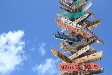 Travel Sign Stocking Island Exuma Bahamas