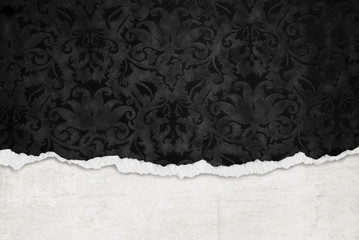 black damask with torn edge