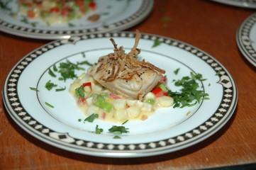 Fish with Hominy Gravy