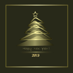 New Year Card with golden elements in abstract style