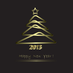New Year Card with golden tree  in abstract style